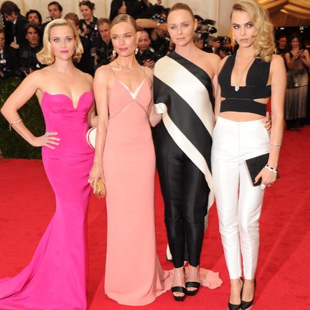 stella mccartney-cara delevingne-kate bosworth-reese witherspoon-met gala 2014-charles james-white trousers-pink dress-curly hair-red carpet- handbag.com