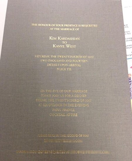kim kardashian-kanye west-wedding-invitation-marriage-ceremony-guests-revealed-handbag.com