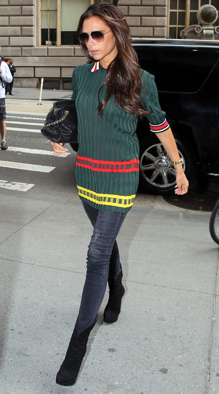 victoria beckham-green jumper-spring style-jeans-how to dress on a hangover-handbag.com