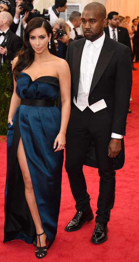 kim kardashian-kanye west-met gala 2014-lanvin dress-navy strapless dress-wedding suit-red carpet-handbag.com