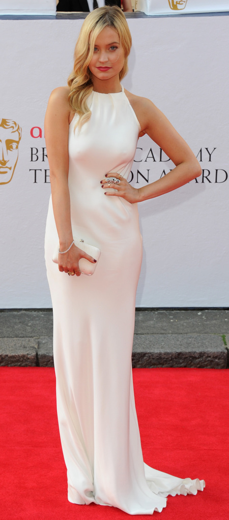 laura whitmore-white dress-long gown-red carpet-tv baftas 2014-British Academy Television Awards-handbag.com