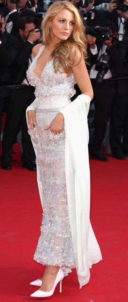 blake lively-cannes film festival-2014-day 2-chanel dress-sequin-corset-chiffon pashmina-tousled beach hair-celebrity dresses-handbag.com