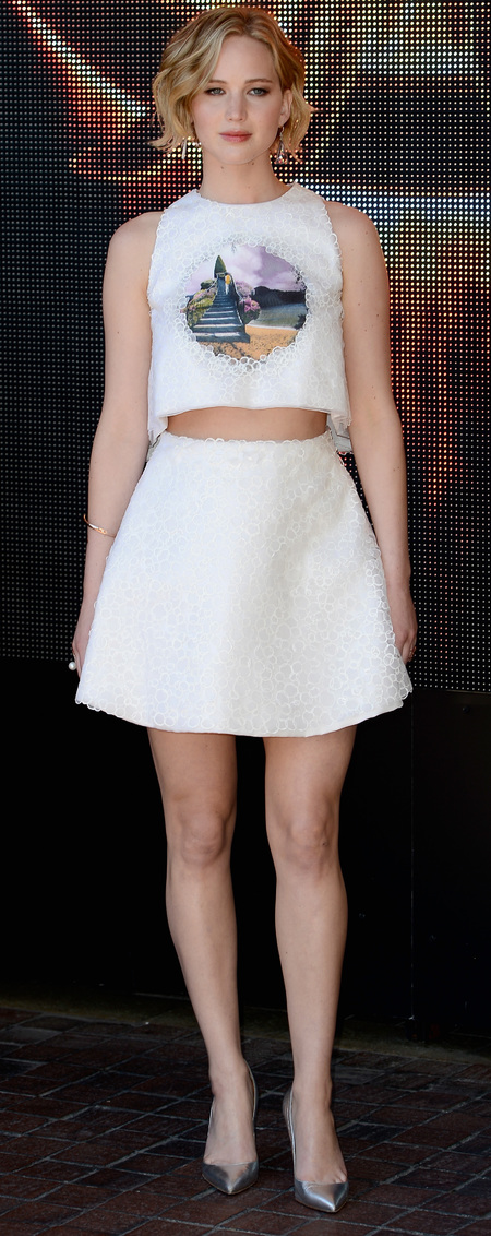 Jennifer Lawrence in Dior skirt and crop top