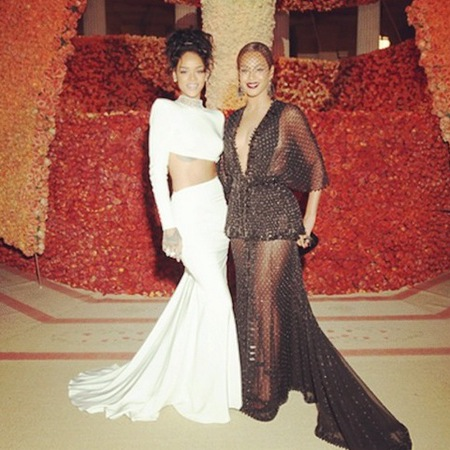 Beyonce and Rihanna at the met gala ball 2014 - instagram - reaction to solange jayz fight - attack - handbag.com