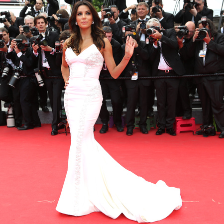 Eva Longoria in white Gabriela Cadena dress