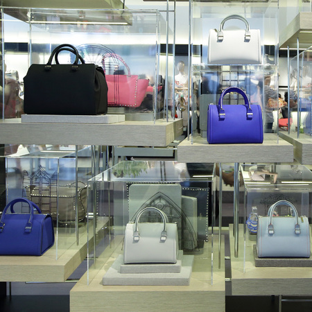 Victoria Beckham - handbag collection - on pedder - singapore - group shot - purple and black - handbag.com