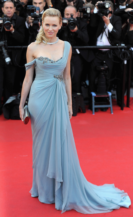 naomi watts in blue marchesa dress - best dressed cannes 2014 - shopping bag - handbag