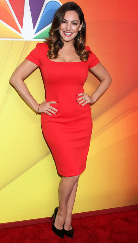 Kelly Brook in fitted red dress