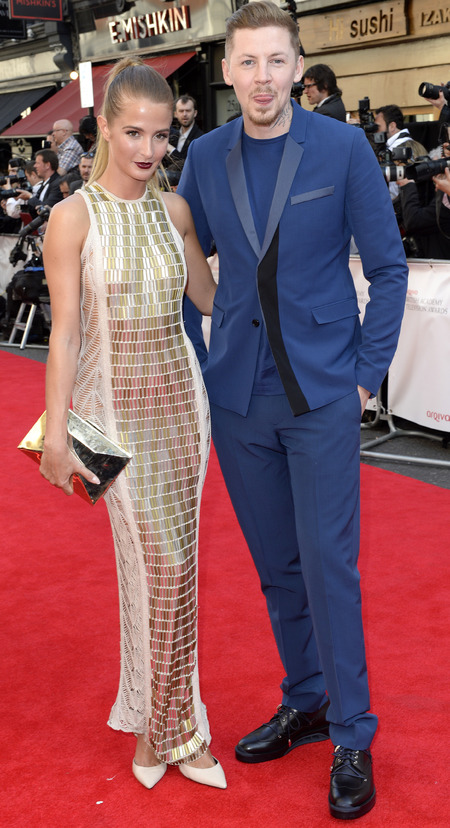 millie mackintosh-professor green-dark berry lipstick-gold dress-red carpet-tv baftas 2014-British Academy Television Awards-handbag.com