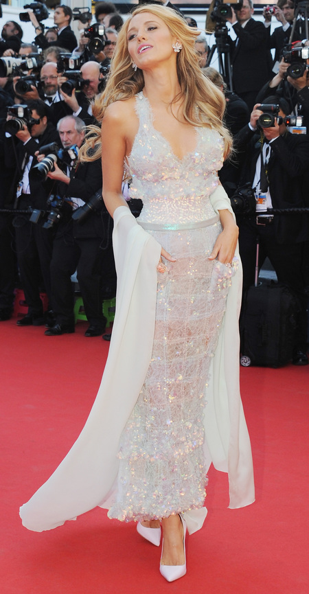 blake lively-cannes film festival-2014--chanel dress-sequin-corset-chiffon pashmina-tousled beach hair-celebrity dresses-iconic cannes moments-handbag.com