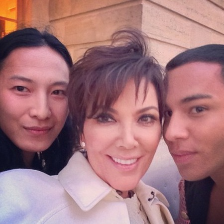 Kris Jenner with Alexander Wang and Olivier Rousteing