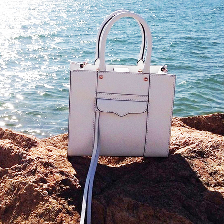 rebecca minkoff-MAB handbag-white designer bag-beach scene-holiday handbag-handbag.com