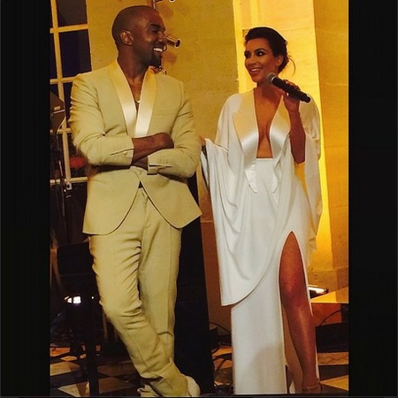 Kim and Kanye's matching white dress and suit
