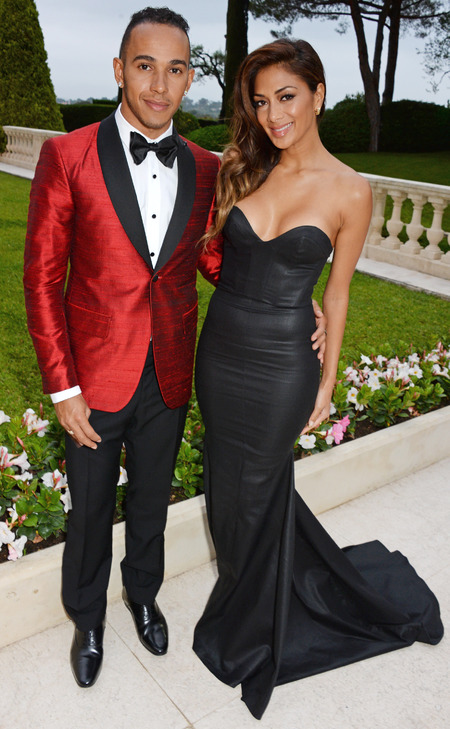 nicole scherzinger-lewis hamilton-cnnes film festival-amfar aids gala-red blazer-black dress-celebrity fashion-handbag.com