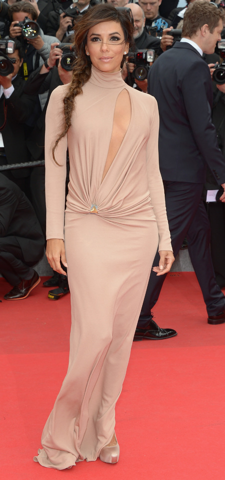 eva longoria-cannes film festival 2014-nip slip-nude dress-red carpet-foxcather premiere-fishtail plait-handbag.com