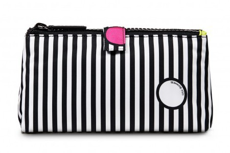 luluguinness spot on stripe double make up bag - handbag hero - beauty bag - handbag