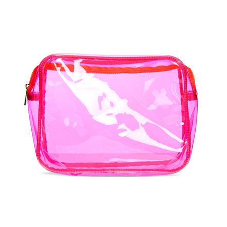 asos - fluro pink wash bag - clear plastic travel makeup bag - handbag.com