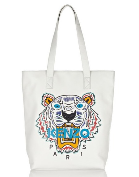 kenzo tiger embroidered leather tote - best white handbags - shopping bag - handbag