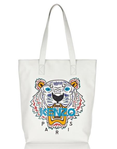 kenzo tiger embroidered leather tote - best white handbags - shopping bag - handbag