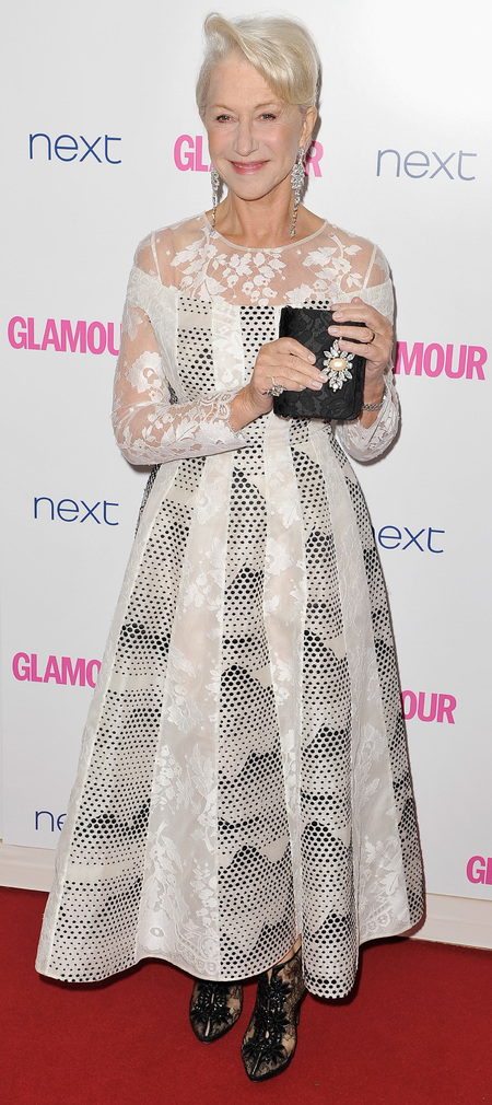 helen mirren-glamour women of the year awards 2014-celebrity red carpet fashion-white dress-daisy clutch bag-handbag.com