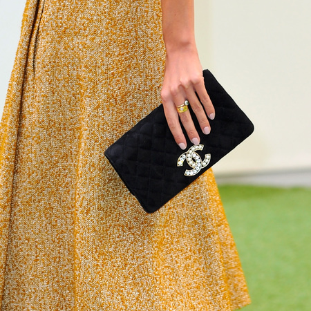 Alexa Chung's black Chanel clutch bag