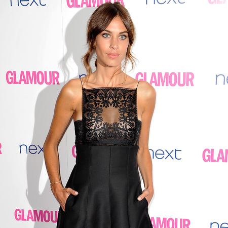 alexa chung-glamour women of the year awards 2014-celebrity red carpet fashion-black dress-handbag.com