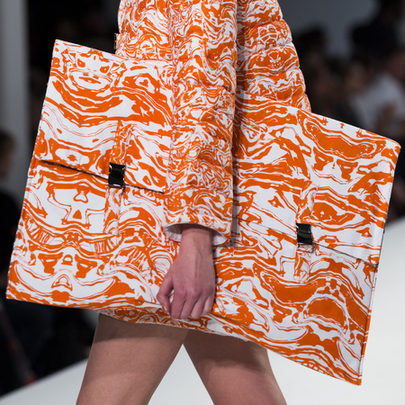 graduate fashion week 2014-best new handbag designers-hannah crawley big orange clutch bag-handbag.com