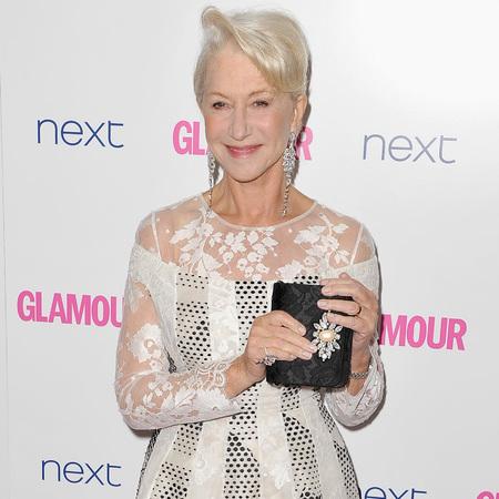 helen mirren-glamour women of the year awards 2014-celebrity red carpet fashion-white dress-daisy clutch bag-handbag.com