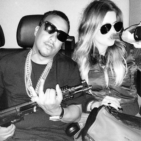 Khloe Kardashian and French Montana - gun and champagne - off the rails - givenchy - handbag.com