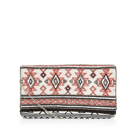 New Look Black Embellished Tribal Print Clutch