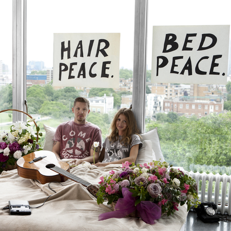 Professor Green-Millie Mackintosh-iconic image of John Lennon and Yoko Ono 1969 bed-come Together charity t-shirt-War Child at River Island-handbag.com