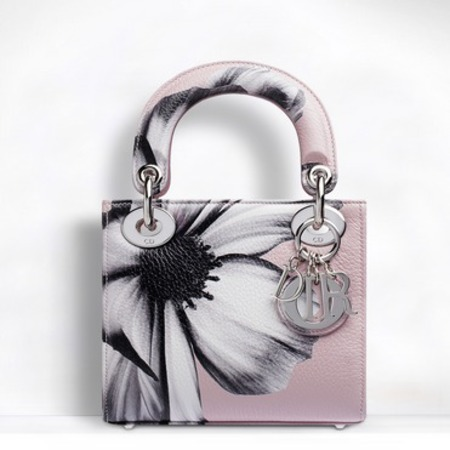 small lady dior bag in pink printed deerskin leather - pink handbags - shopping bag - handbag