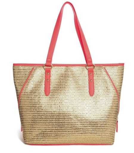 New Look Libby Straw Beach Bag with Coral Contrast Trim