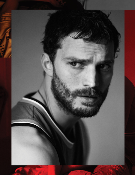 Jamie Dornan - Interview Magazine - black and white - face on - handbag.com