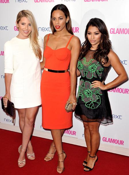 rochelle williams-mollie king-vanessa white-glamour women of the year awards 2014-celebrity red carpet fashion-orange dress-white dress-handbag.com