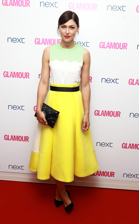 Emma Willis - yellow skirt and green and white top - glamour awards - dress - handbag.com