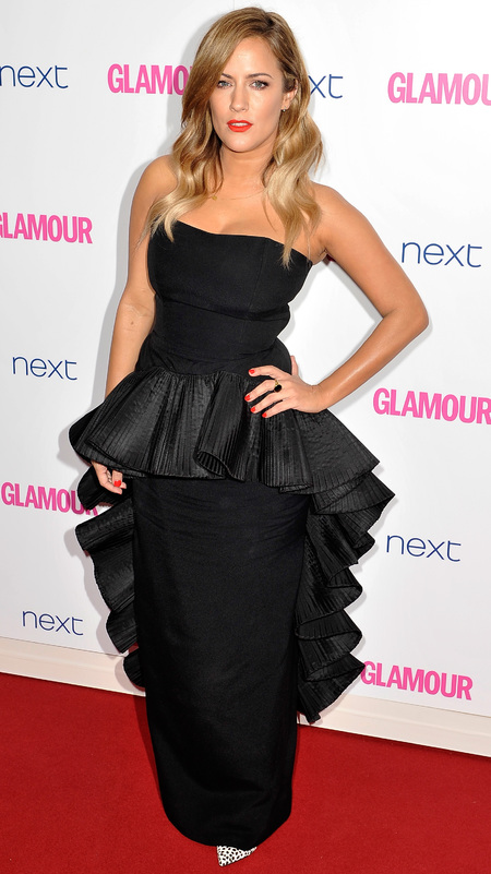 caroline flack-glamour women of the year awards 2014-celebrity red carpet fashion-black ruffle dress-handbag.com