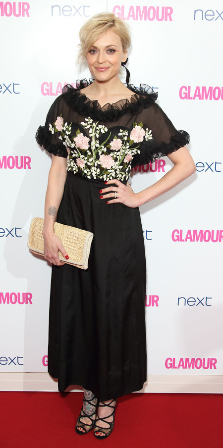 Fearne Cotton at the Glamour Awards 2014 - sheer floral dress and straw clutch bag - red carpet fashion - Fearne Cotton's handbags - celebrity style - handbag.com