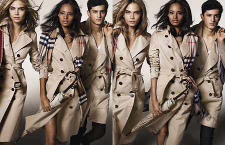 Burberry Autumn Winter 2014 Campaign-cara delevingne-malaika firth-classic trench coat and burberry check scarf-handbag.com