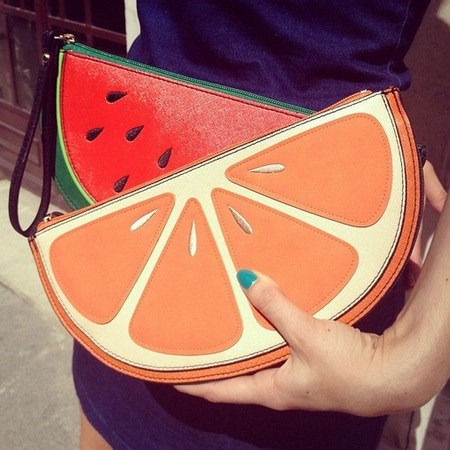 fashion trial - how to wear fruit clutch bags - fruity bags - handbag.com