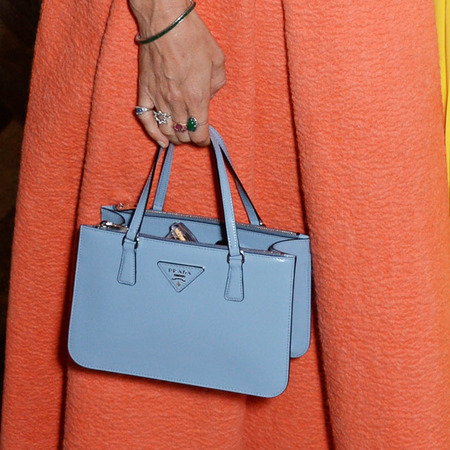 laura bailey-blue mini prada bag-orange skirt-roksanda ilincic mount street london store opening-celebrity designer handbags-handbag.com