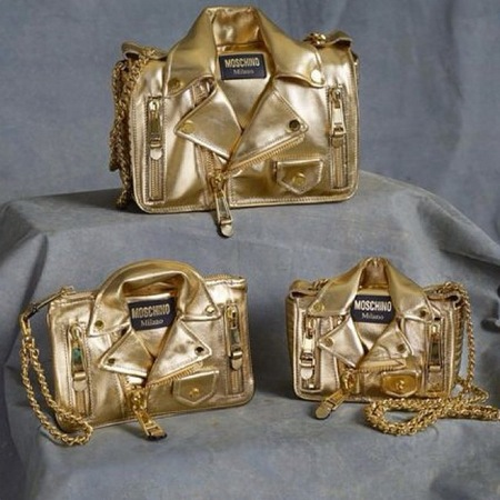 Moschino - jeremy scott - gold biker bag handbag - resort 2015 - handbag.com