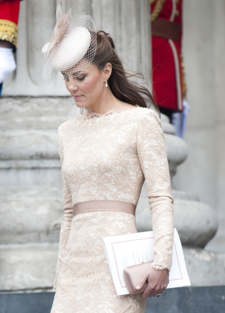 Kate Middleton in Alexander McQueen nude lace dress for Queen's thanksgiving service 2012 - Kate Middleton's fashion - Kate Middleton style - fashion news - handbag.com