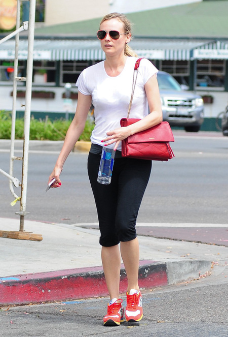 diane kruger-red lanvin sugar bag-quilted leather handbag-celebrity gym workout gear-designer handbags-handbag.com