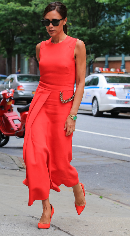 Victoria Beckham in red Victoria Beckham dress