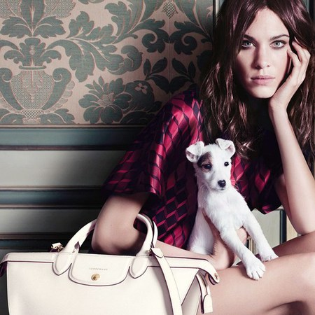 alexa chung-longchamp autun winter 2014-handbag advert campaign-cute dog-white le pliage bag-handbag.com