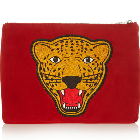 charlotte olympia-tiger face varsity clutch bag-discount designer handbags-net-a-porter sale-red clutch-handbag.com