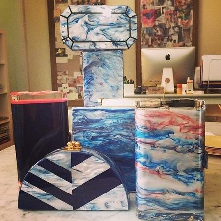 edie parker-slogan clutch bags-marble print-sea blue bags-resort 2015 designer collections-handbag.com