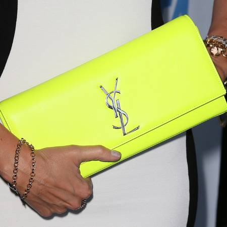 Susan Yeagley's neon yellow YSL clutch bag