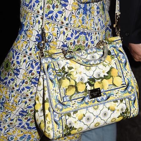 Pixie Lott's lemon print Dolce & Gabbana bag
